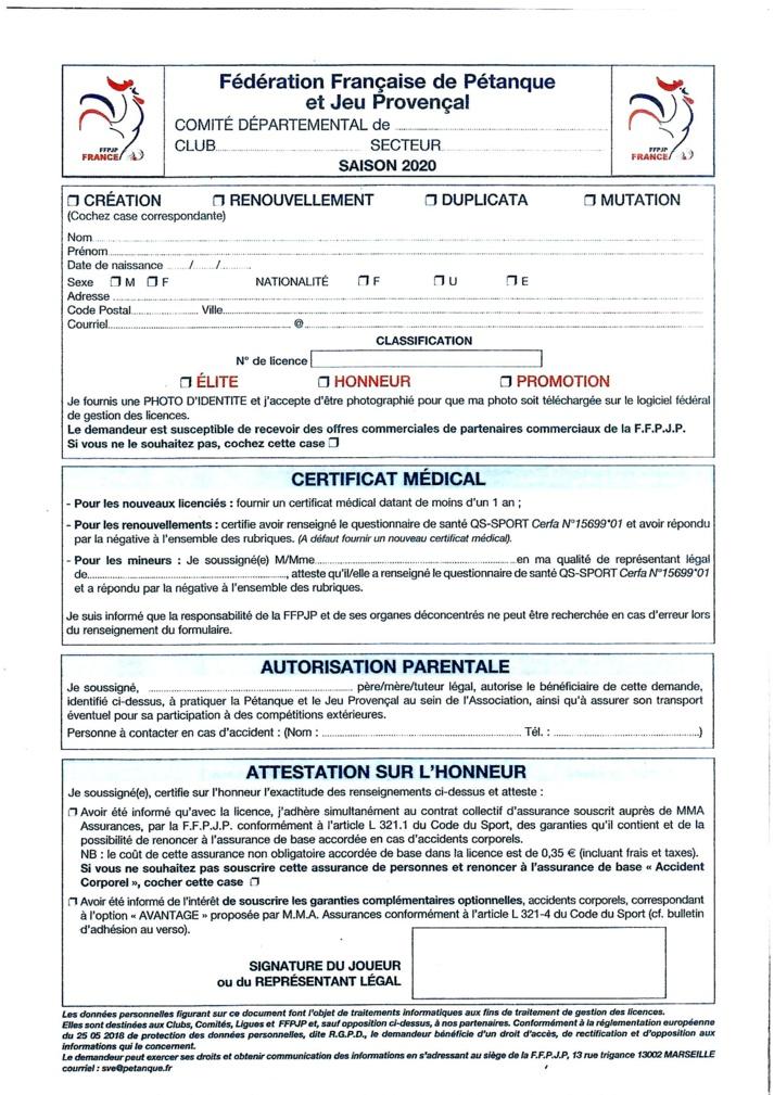 Bordereau licence FFPJP 2020