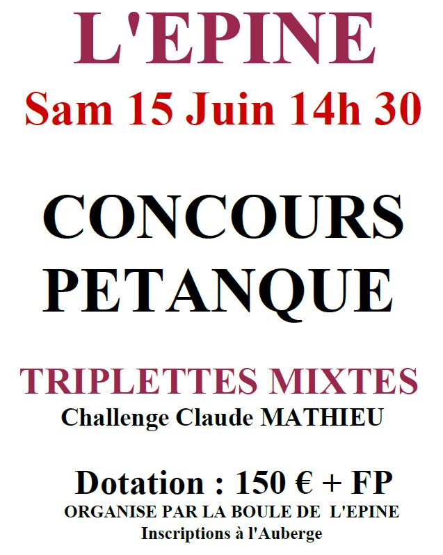 L'épine - Triplette pétanque mixte  -  Samedi 15 juin 2019