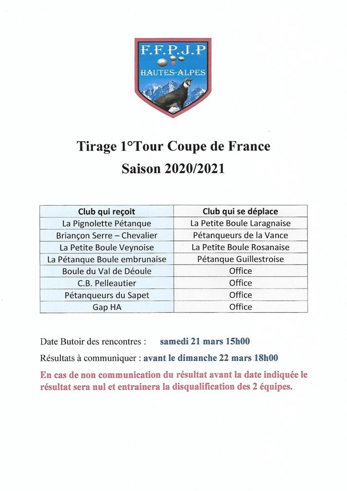 Tirage 1er Tour Coupe de France saison 2020/2021^^^huiiii/+