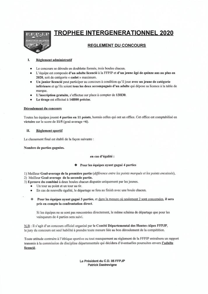 Trophée intergénérationnel 2020