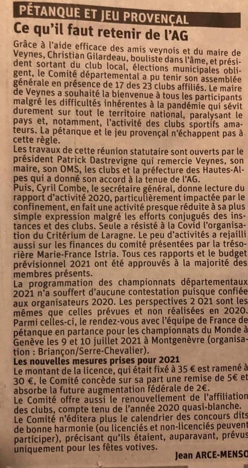 Articles du Dauphiné Libéré 23/12/2020