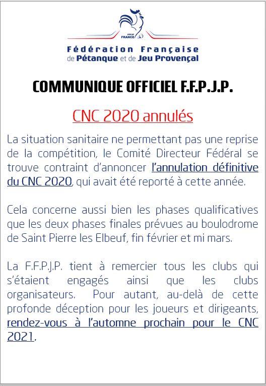 Annulation CNC   2020
