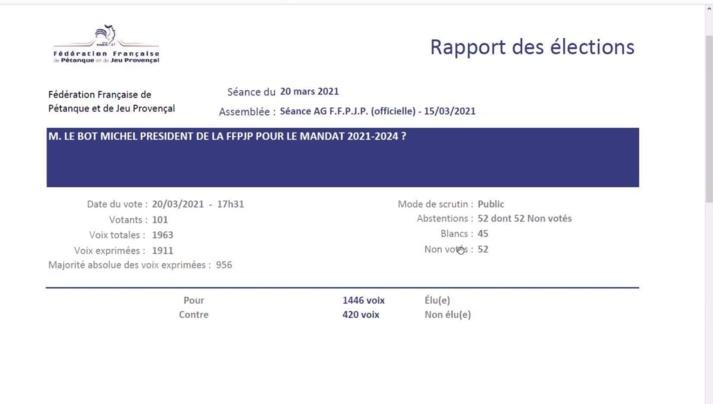 Élection du Président FFPJP Mr LEBOT Michel