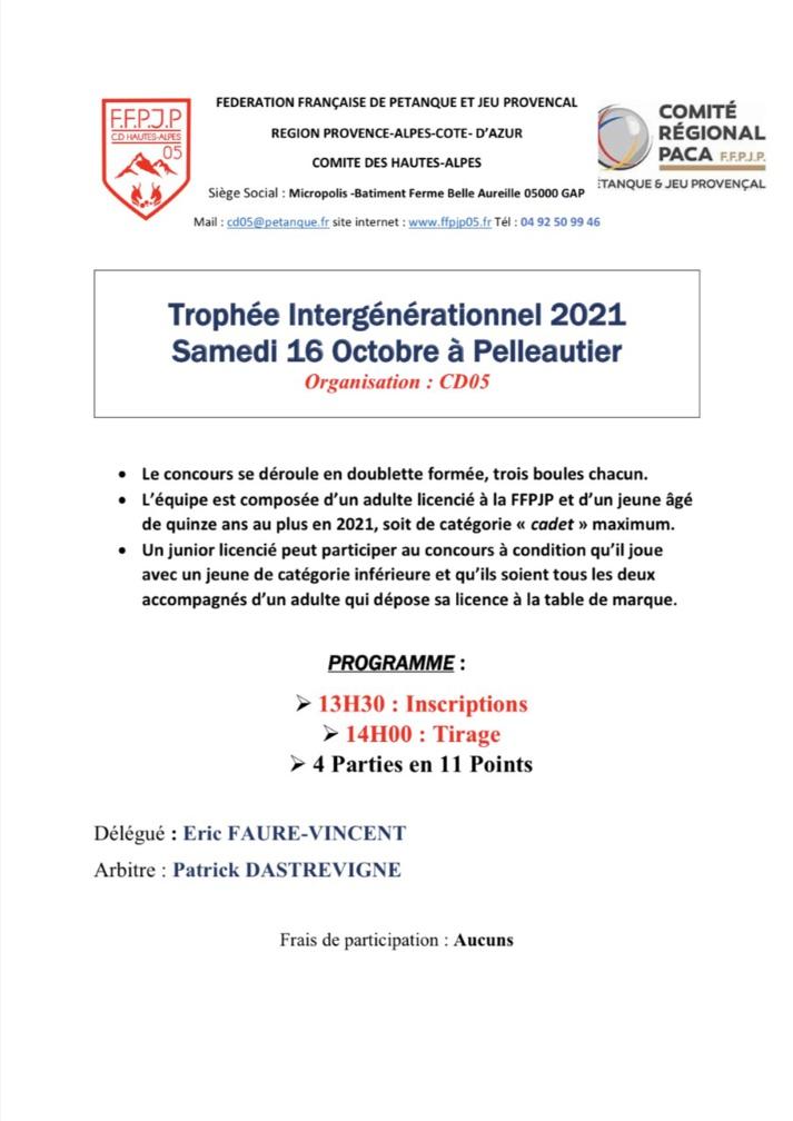 Trophée Intergénérationnel 16 Octobre 2021