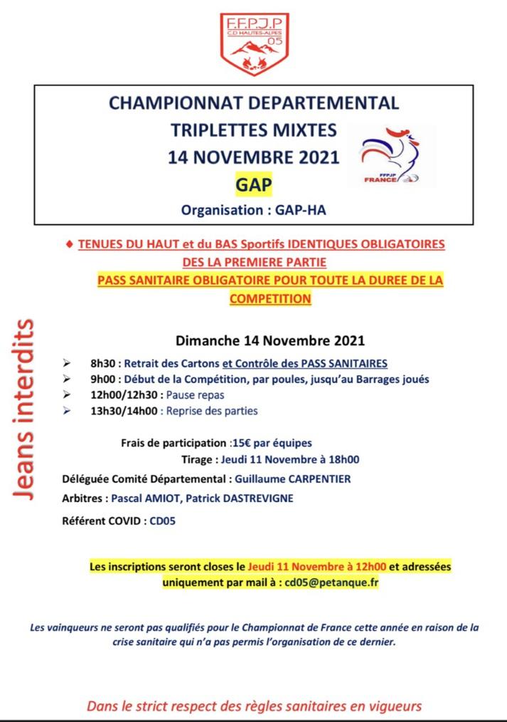 Championnat Départemental Triplettes Mixtes 14 Novembre 2021