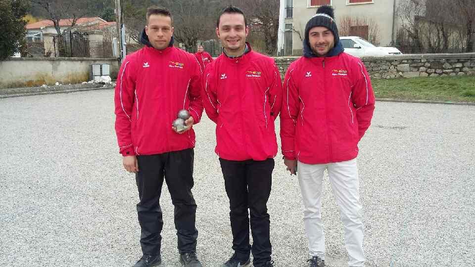 Lucas BONNENFANT, Mickael PANZA et Anthony EYRAUD (Gap Alpes Pétanque H.A.)