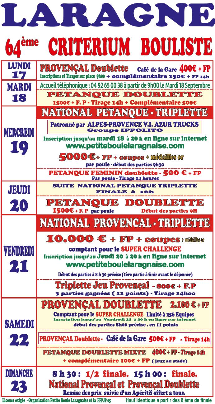 Laragne - 64 ème CRITERIUM BOULISTE du lundi 17 septembre au dimanche 23 septembre 2018