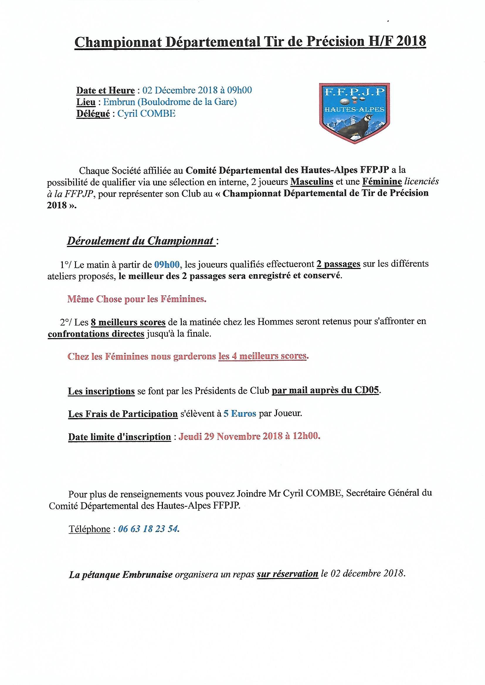 Championnat départemental Tir de Précision 2018 H/F