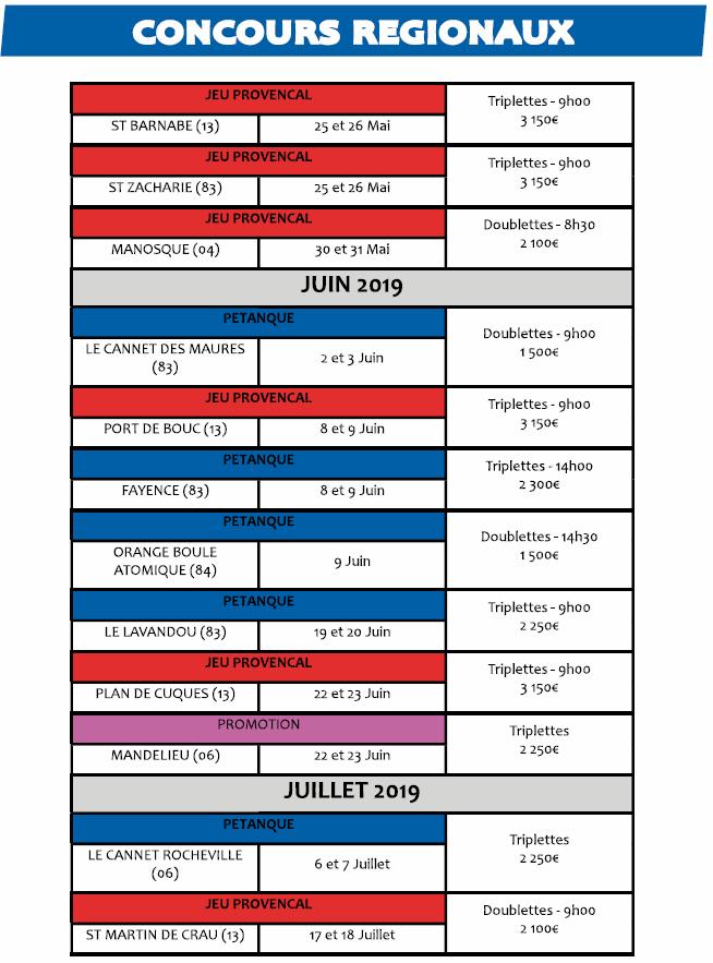 Concours Régionaux 2019