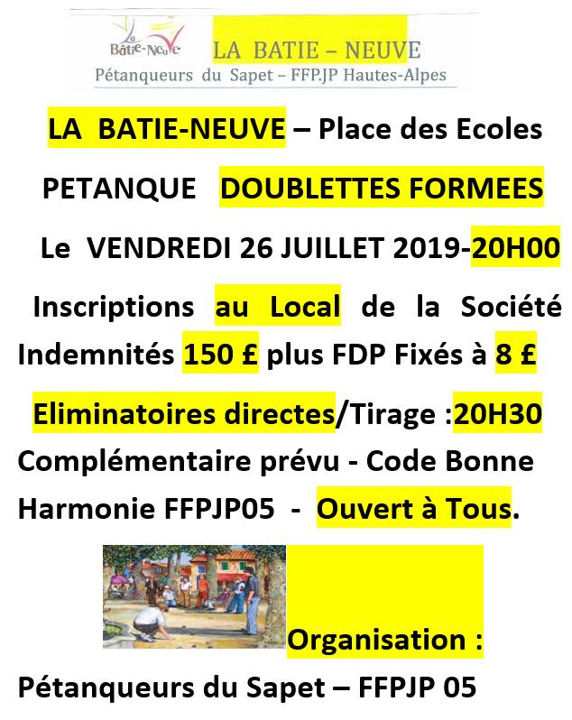 La Bâtie-Neuve  - Pétanque doublette vendredi 26 juillet