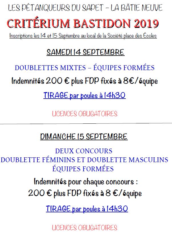 Critérium Batisdon  - Samedi 14 et dimanche 15 septembre 2019