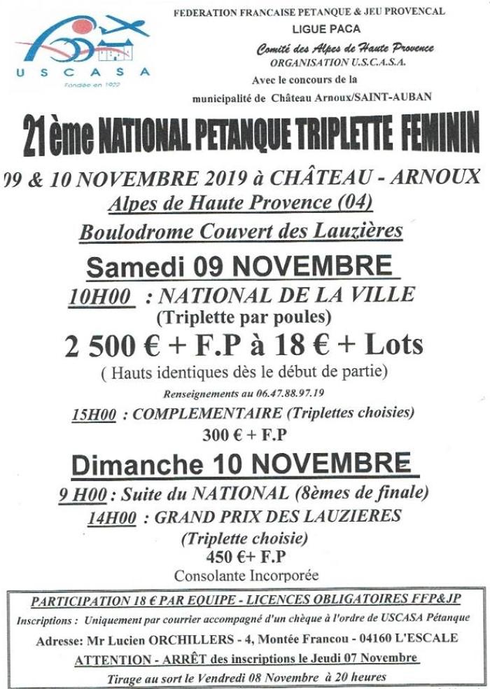 Château-Arnoux  - National féminin - Samedi 09 novembre 2019