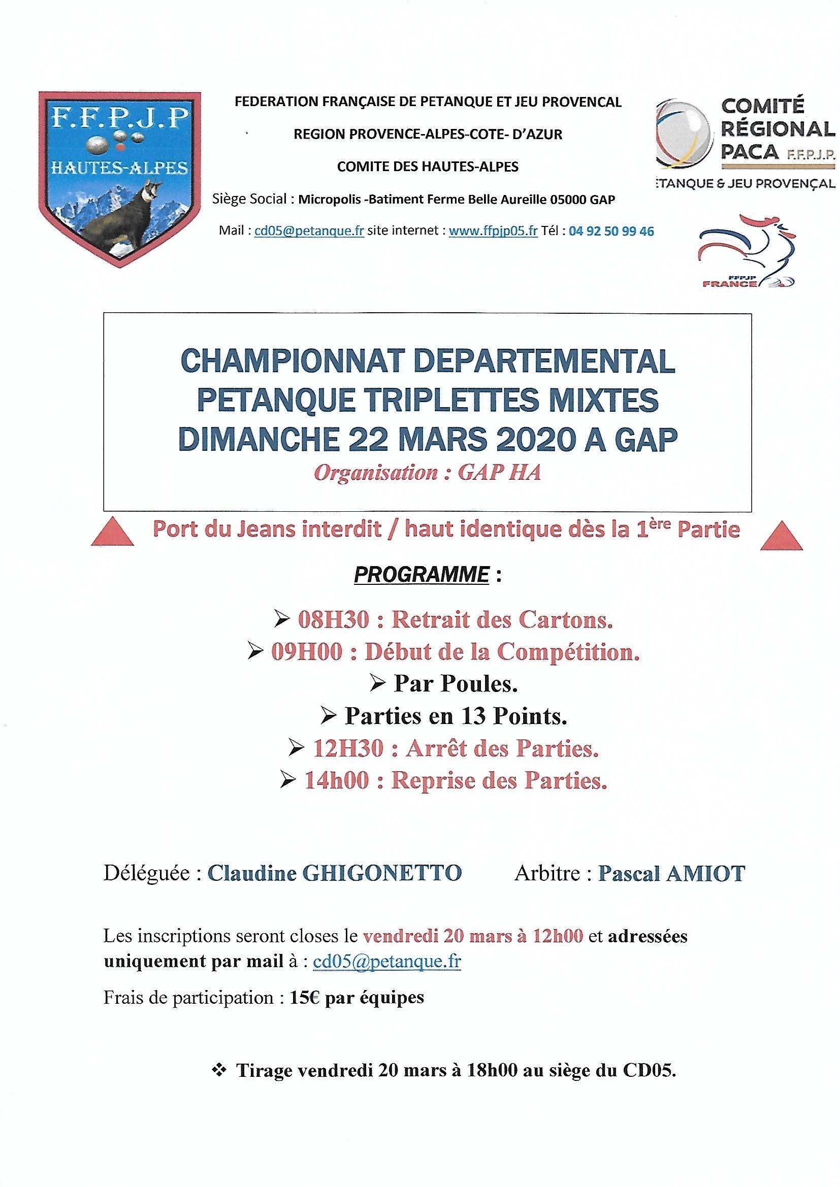 Championnat Départemental triplettes mixtes le 22 mars à GAP