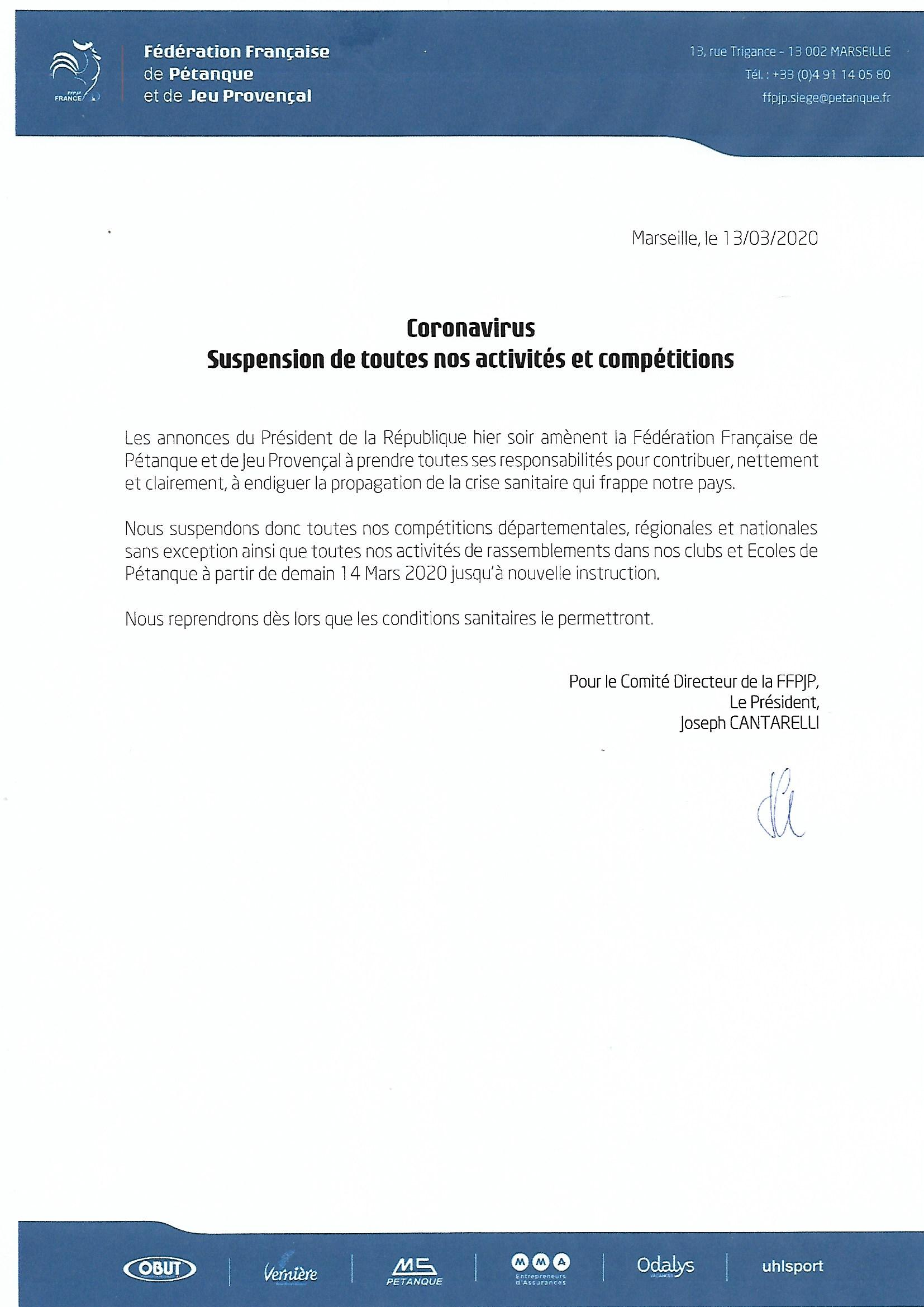 Communiqué CORONAVIRUS FFPJP