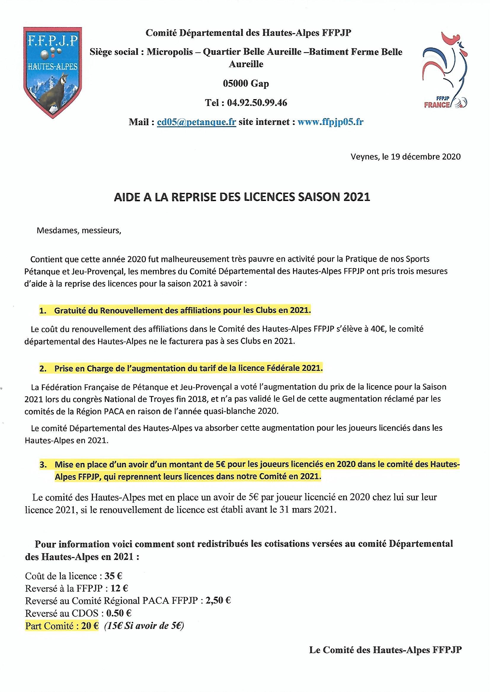 Aides à la Reprise des Licences Saison 2021