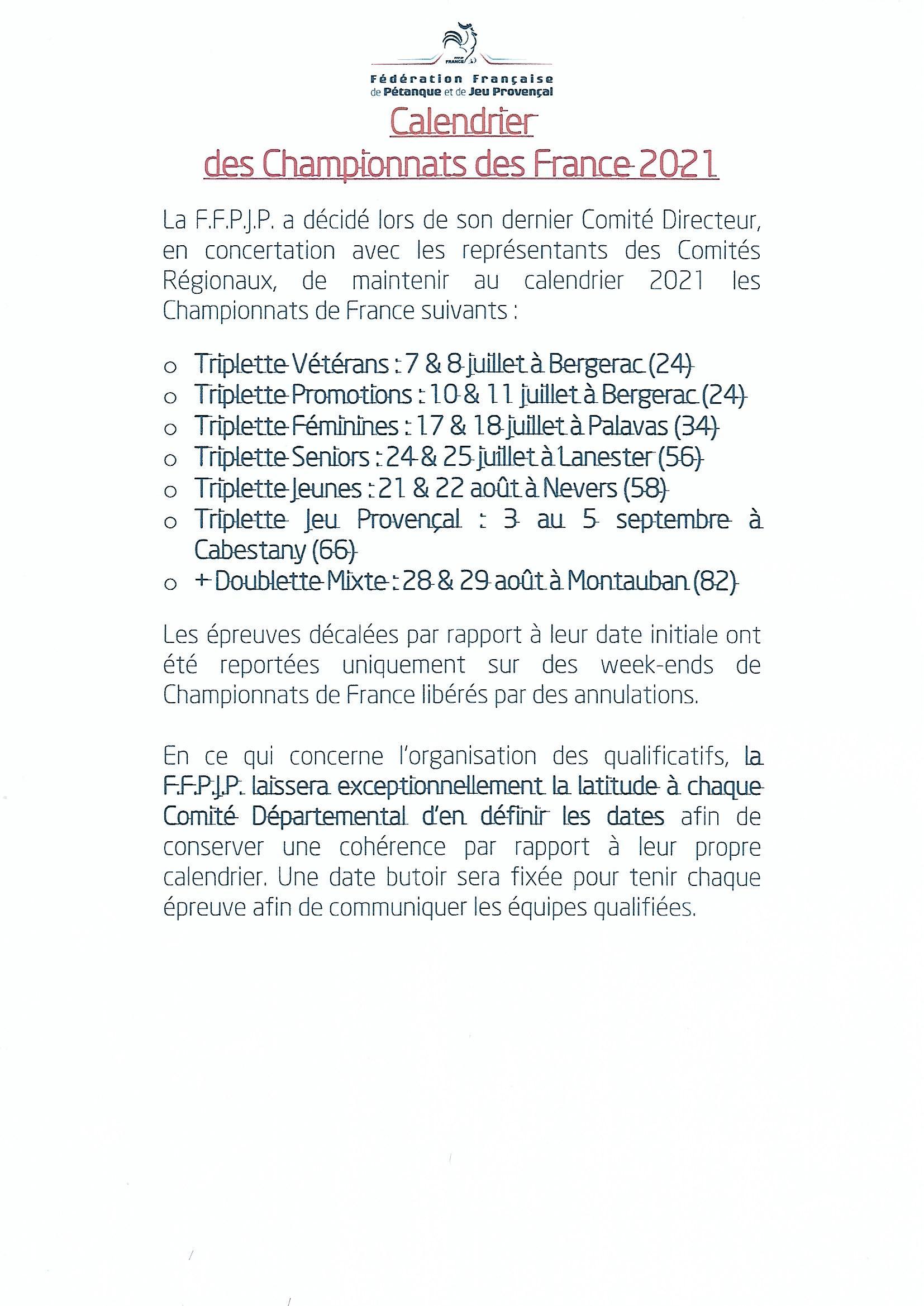 Nouveau Calendrier des Championnats de France 2021