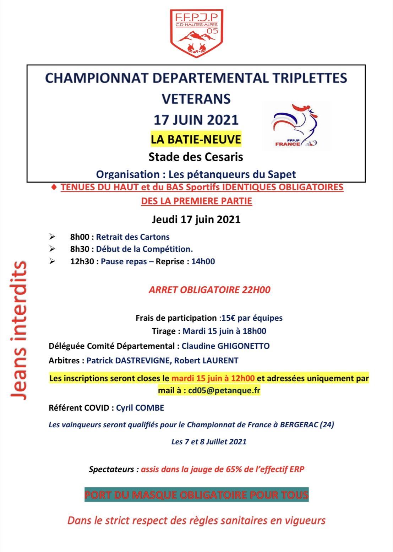Championnat Départemental Triplette Vétérans le 17 Juin 2021