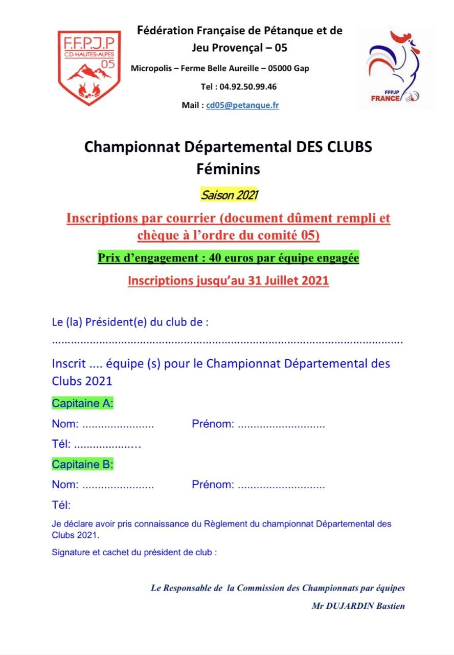 Championnat Départemental des Clubs Féminin 2021