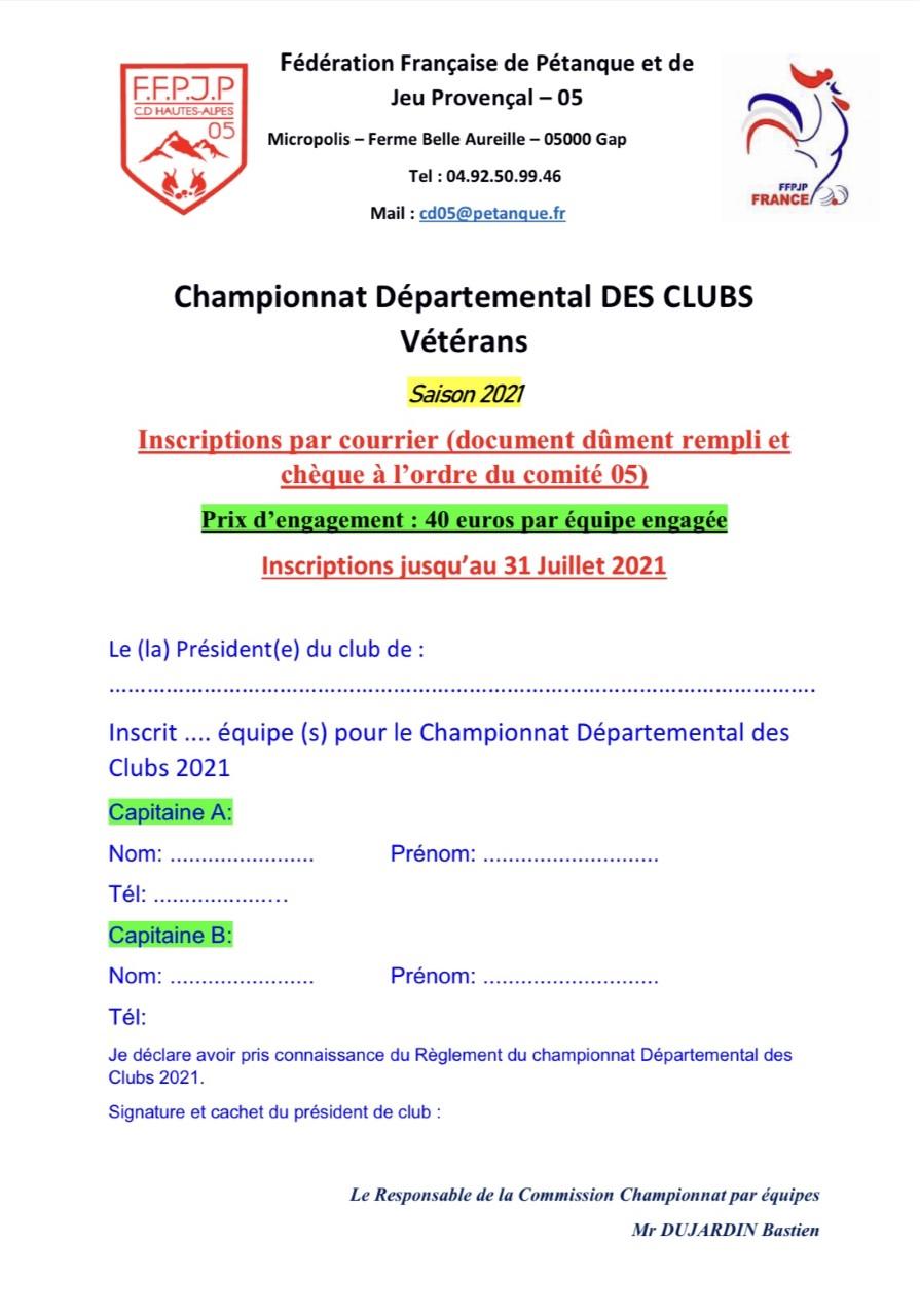 Championnat des Clubs Vétéran 2021