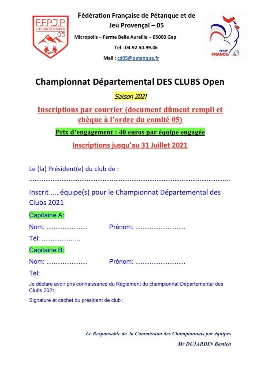 Championnat des Clubs Jeu-Provençal 2021