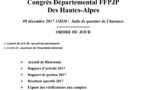 Congrès Départemental FFPJP 05 - Samedi 09 Décembre 2017 à partir de 13h30 à GAP - CHARANCE