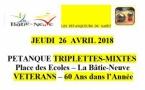 LA Bâtie-Neuve- Pétanque triplettes Mixtes Vétérans jeudi 26 avril 14h00