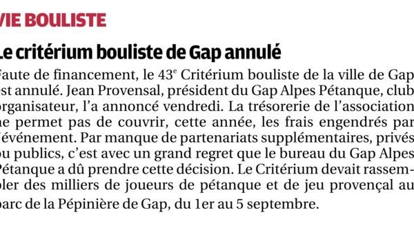 Critérium bouliste de GAP annulé