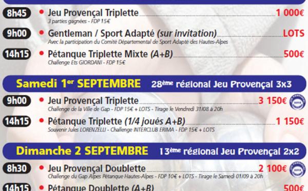 GAP - 45 ème CRITERIUM BOULISTE du 30 août au 03 septembre 2018