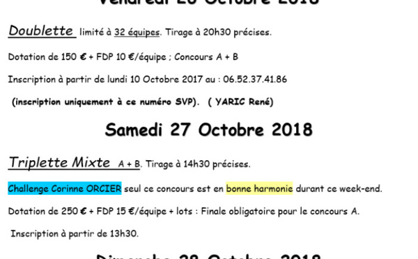 Critérium Embrun - vendredi 26, samedi 27 et dimanche 28 octobre 2018