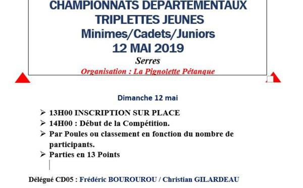 Championnat Départemental Triplettes Jeunes le dimanche 12 mai à SERRES