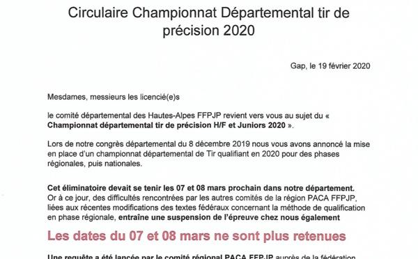 Communiqué Championnat Tir de précision 2020