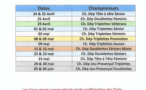Tableau Récapitulatif des Championnats Départementaux selon le calendrier fédéral du 04 mars 2021