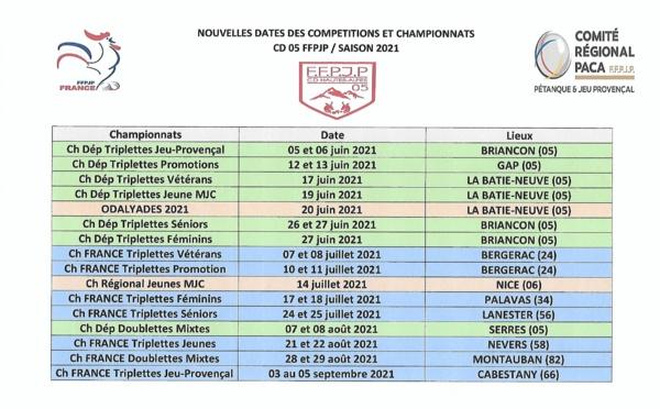 Nouveau Calendrier Championnats et Compétitions saison 2021